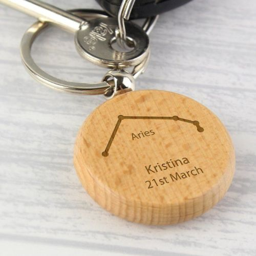 Aries Zodiac Star Sign Wooden Keyring (March 21st-April 19th)